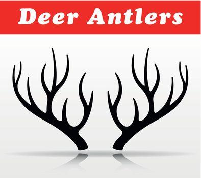 black deer antlers vector design