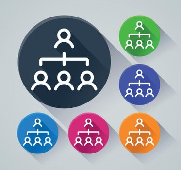 people organization icons with shadow
