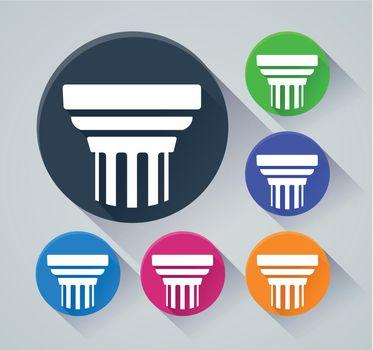pillar circle icons with shadow