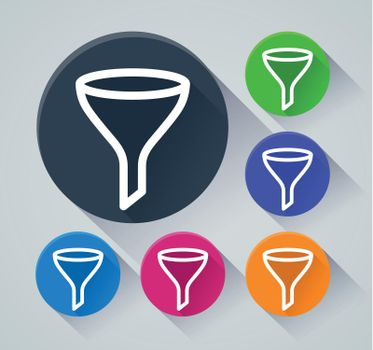 funnel circle icons with shadow
