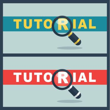 tutorial word with magnifier concept