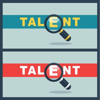 talent word with magnifier concept