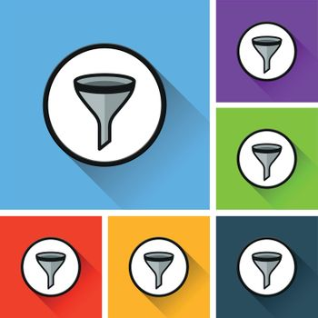 funnel icons with long shadow