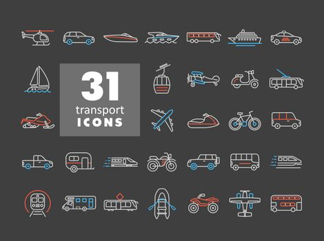 Transportation vector flat icon set on dark background. Graph symbol for travel and tourism web site and apps design, logo, app, UI