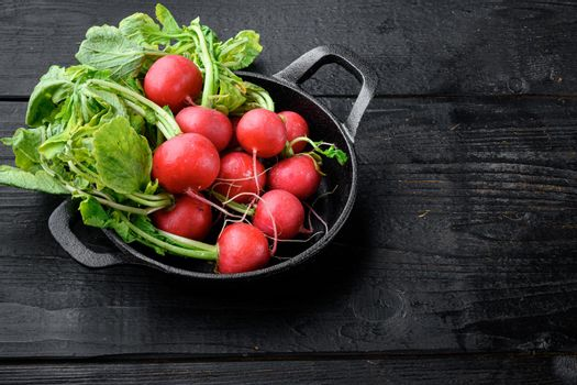 Red radish bunch with green leaves, on black wooden table background, with copy space for text