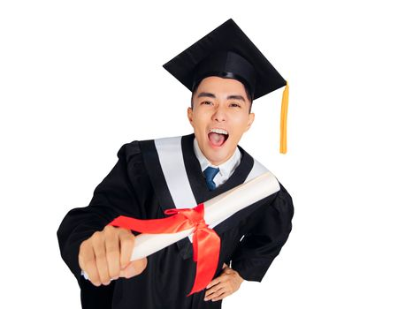 Excited young man in  black graduation gown and cap  showing diploma