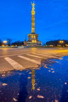 The famous Victory Column in the Tiergarten in Berlin at dusk