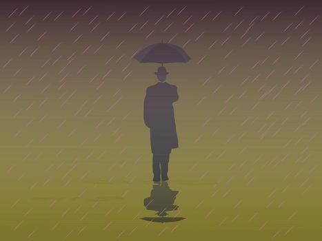 Men's Trench Coat An umbrella walking in the rain