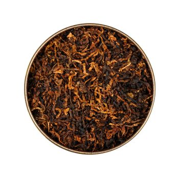 Round tin of coarse cut pipe tobacco over white