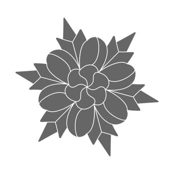 Silhouette pattern design in the form of a flower, scrapbooking, impression, stamp, figure carving and creative design. Flat style.