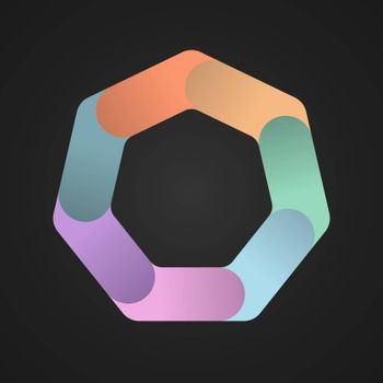 heptagon divided into seven colored parts. Template for infographics. Color design