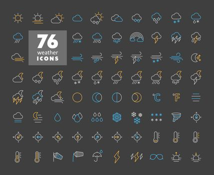 Vector weather forecast icon set on dark background. Meteorology sign