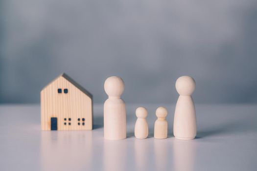 Family and house concept, residential and insurance, planning with financial for residence, symbol and sign with home and relationships for metaphor, ownership of real estate and investment.