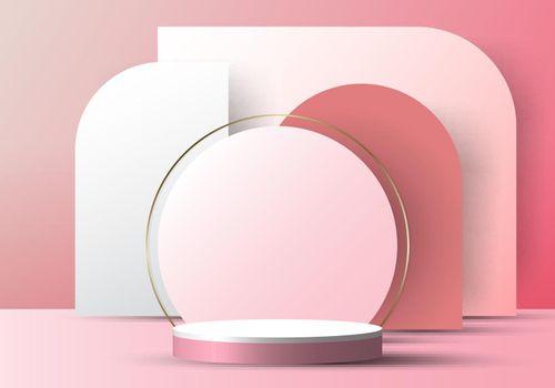 3D realistic elegant white cylinder on circle rounded backdrop on pink background