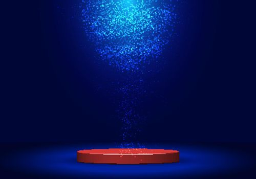 3D realistic red pedestal with lighting and dust on dark blue background
