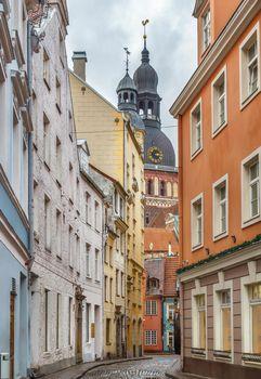 Street in Riga old town, Latvia