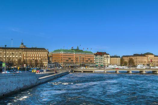 Embankment in central Stockholm, Sweden