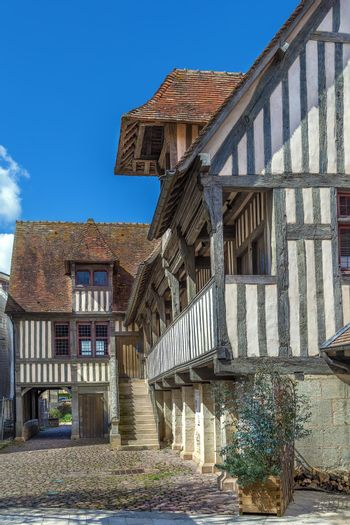 Half-timbered houses in  Pont-l'Eveque, Calvados, France