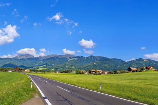 View of fields and Alps, Austria