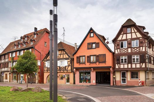 Street in Obernai, Alsace, France