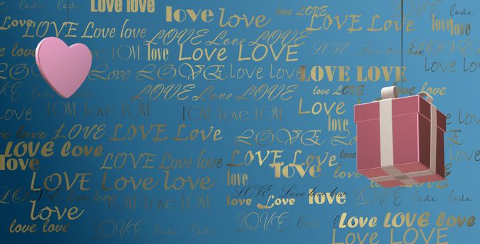 Gold text LOVE on blue background