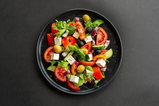 Greek salad top view
