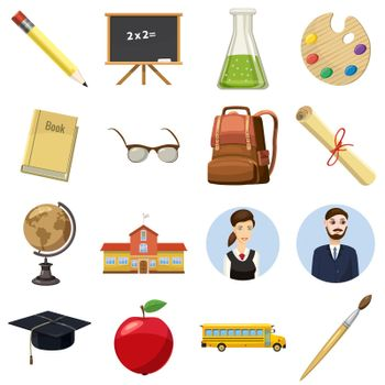 School icons set in cartoon style isolated on white background