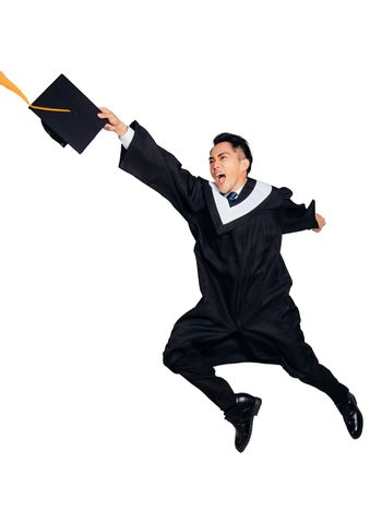 Happy male  graduate student running and jumping