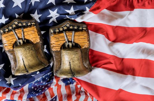 Memory bell on American flag Memorial day with remember those who served