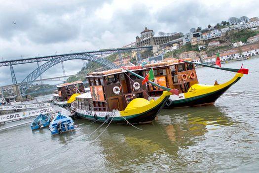 Typical flat-bottom boats, Oporto, Porto, Portugal
