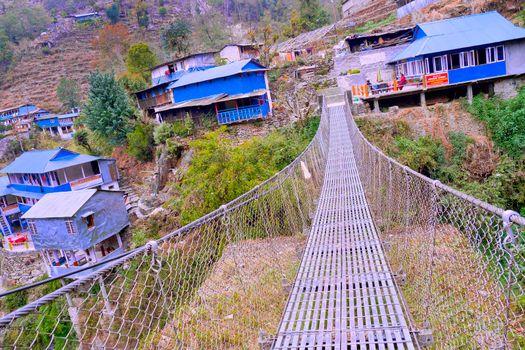 Suspension Footbridge, Annapurna Conservation Area, Himalaya, Nepal