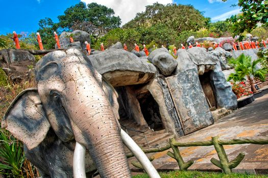 Sacred Elephants and Monks Sculptures, Golden Temple of Dambulla, Sri Lanka