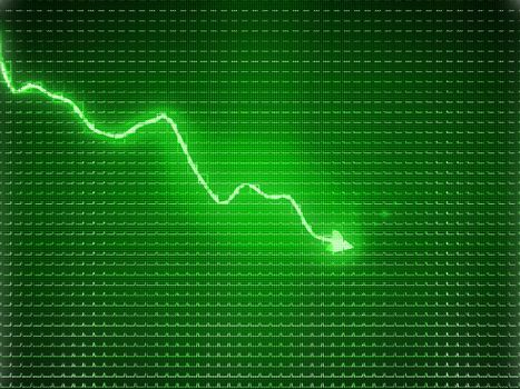 Green trend graph as symbol of business contraction