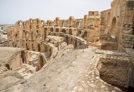 Remains of Roman amphitheater in El Djem Tunisia