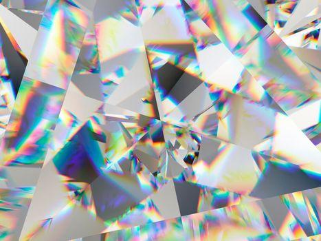 Precious diamond structure extreme closeup and kaleidoscope