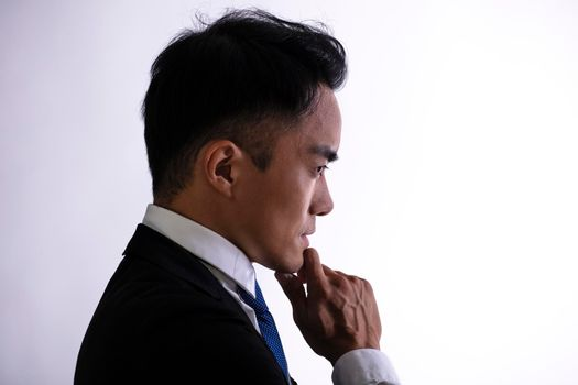 Side view Silhouette of  thinking businessman.
