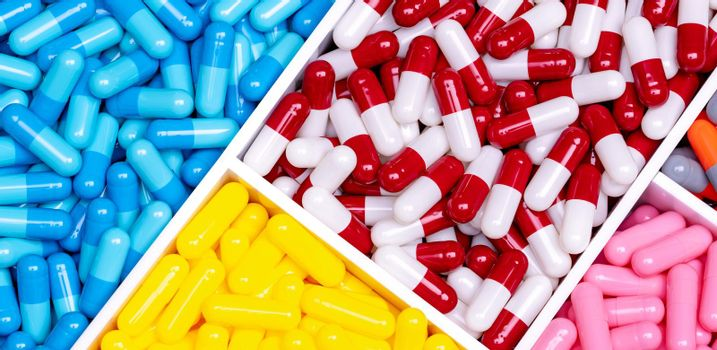Antibiotic drugs. Top view of painkiller capsule pills and supplements capsule in plastic tray. Pharmaceutical industry. Pharmacy banner. Prescription drugs. Antibiotic drug selection. Drug of choice.