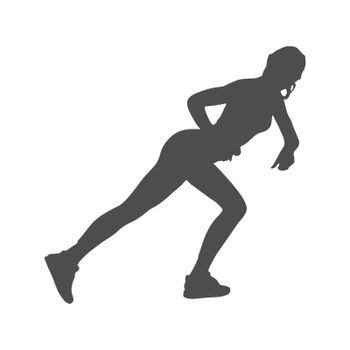 Silhouette of an athlete. Sports training. Vector illustration, flat style.
