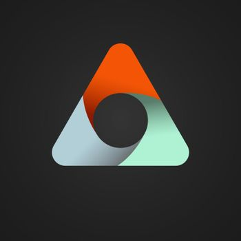 triangle divided into three colored parts. Template for infographics. Color design