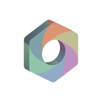 three-dimensional hexagon divided into six colored parts. Template for infographics. Color design