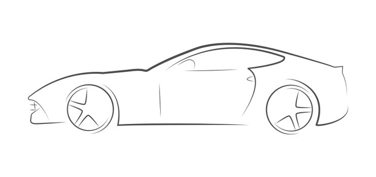 Contoured silhouette of an abstract sports car. Linear vector illustration. Flat Style