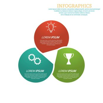 Infographic template with visual icons. 3 stages of business, training, marketing or financial success. Vector illustration