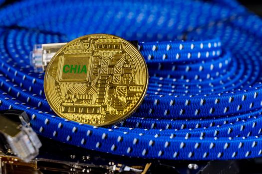 New Chia coin virtual money green cryptocurrency on mining on speed hard disk drive farm