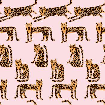 Leopard seamless pattern. Wild animal leopard print. Cartoon funny gepard. Trendy repeat artwork.