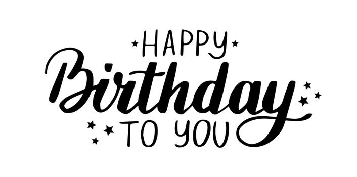 Happy birthday handwritten lettering for card. Hand drawn letter for cards or poster