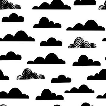 Cloud seamless pattern for children nurcery room. Vector funny child sky print