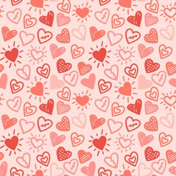 Hearts seamless pattern. Vector love red pink hand drawn background. Valentines day wedding romantic print.