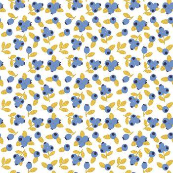 Blueberry seamless pattern. Blue berry summer print. Hand drawn food fabric print.