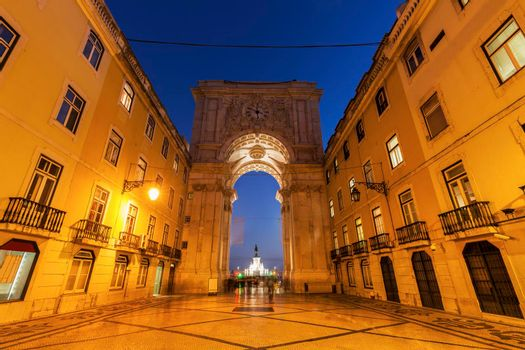 Rua Augusta Arch on Plaza of Commerce in Lisbon