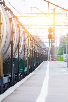 Commodity cars on the railway. Cargo transportation. Panorama of wagons awaiting loading. Russian railway. Russia, Siverskaya August 3, 2019